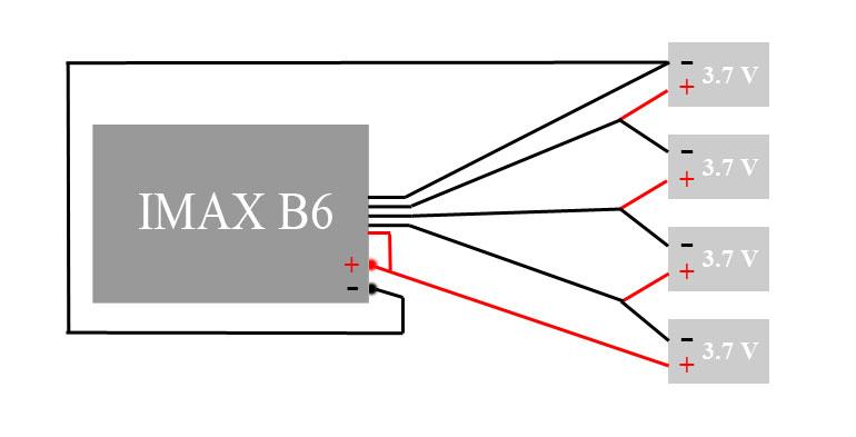 Схема подключения к IMAX B6 четырех однобаночных аккумуляторов